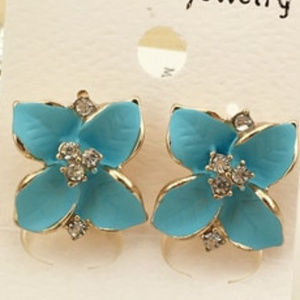 Aqua Or Pink & GOLD  FLOWER & CRYSTAL EARRINGS.